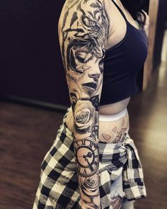 Womens Black and Grey Tattoo Sleeve by Andres OrtegaYou can find Full sleeve tattoos and more on our website.Womens Black and Grey Tattoo Sleeve by Andres Ortega Black And Grey Tattoos Sleeve, Full Sleeve Tattoos, Sleeve Tattoos For Women, Tattoo Sleeve Designs, Women Sleeve, Black Tattoos, Trendy Tattoos, Cute Tattoos, Leg Tattoos