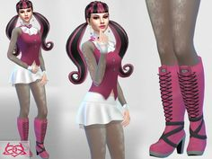 Draculaura set clothes boots by Colores Urbanos at TSR via Sims 4 Updates