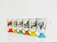 Vintage Bird Pedestal Mugs on Etsy, 138.73₪