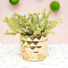 Faceted Ceramic Vase, Round Planter Pot, Geometric, 4.25 inch, Gold