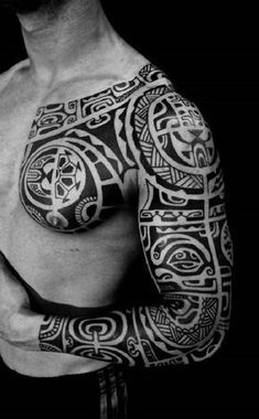 Polynesian Tribal Tattoo with Bold Patterns #marquesantattoospatterns #marquesantattooschest #polynesiantattooschest