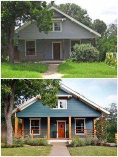 Home Decor Industrial Before and after. Exterior home re-do - Remodel Quirky Home Decor, Classic Home Decor, Exterior Design, Home Interior Design, Exterior Colors, Exterior Paint, Victorian Homes Exterior, Victorian House, Home Remodeling Diy