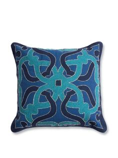 """Barclay Butera, Tangier Throw Pillow, Blue - Hand made, basketweave fabric with embroidery and beading on face 16"""" x 16""""   55 - orig. 141"""