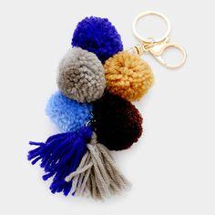 Rainbow Yarn Pom Pom Tassel Keychain - Blue