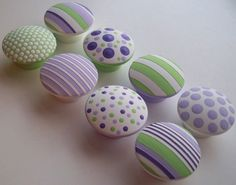 Hand Painted Drawer Knobs- Girl's Lavender and Lime Green Drawer Pulls- Polka Dots and Stripes- Set of 8 Wood Knobs Knobs And Handles, Drawer Knobs, Drawer Pulls, Cupboard Knobs, Door Knobs, Painted Chairs, Painted Furniture, Green Drawers, Painted Rocks