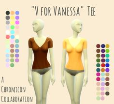 We made another accessory top for you, this time with a v-neck and short sleeves. It's shiny in the preview pics because it's on a mannequin, but it looks normal on a sim. It only comes as an...