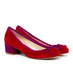 red and purple heeled flats