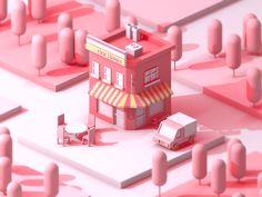 our hours light and shadow pink city design clean Isometric Art, Isometric Design, Web Design, Game Design, Art Isométrique, Mini Mundo, 8bit Art, 3d Artwork, Environment Concept Art