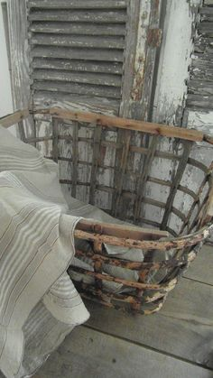 FleaingFrance......I have a pair of these old baskets that I use for display on a huge open loft type space in the kitchen.  Love the handmade/rustic texture.