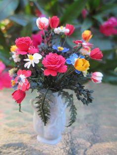 Dollhouse Miniatures ~ Handmade Mixed Flowers in Vince Stapleton Vase