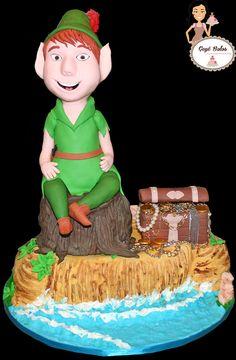 Peter Pan esculpido em bolo Cake Peter Pan