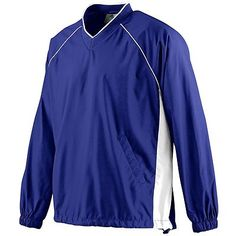 Augusta Sportswear Adult Raglan Sleeves V Neck Pullover Jacket. 3460 Outer shell of 100% micro polyester, Body lined with 100% polyester mesh, Sleeves lined with 100% polyester taffeta, Tipped 1x1 rib-knit V-neck collar, Vented back with hook and loop closure, White piping in front and back armholes, White side panels, Raglan sleeves, Reinforced slash front pockets, Elastic cuffs, Open bottom with elastic drawcord and cordlock, Dropped tail, Water-resistant, Machine-washable.