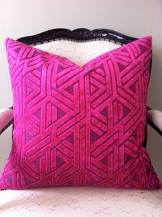 Luxe - Fushia Cut Velvet, Geometric pattern. $75.00, via Etsy (Pillotopia) 20% Sale on now
