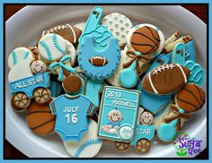 Sports themed baby shower cookies
