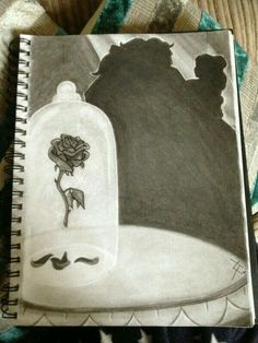"""A quick sketch i did last night! As you all know Beauty and the beast is my favourite Disney film! """"And as punishment, she transformed him into a hideou. The Enchanted Rose Amazing Drawings, Love Drawings, Beautiful Drawings, Drawing Sketches, Amazing Art, Art Drawings, Drawing Ideas, Sketching, Awesome"""