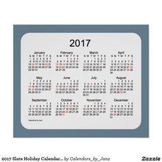 2017 Slate Holiday Calendar by Janz Print