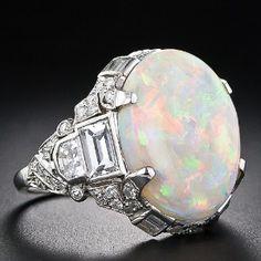 Oval White Opal- art deco setting
