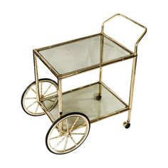 1970s Brass Plated Drinks Trolley