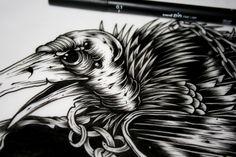 A detail shot of #vulture illustration by J.Hobbs