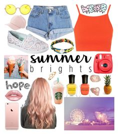 """""""Summer brights"""" by char-pisces ❤ liked on Polyvore featuring Deborah Lippmann, Skechers, Fuji, Topshop, Levi's, Dezso by Sara Beltrán, Lime Crime, Charlotte Russe, H&M and Ray-Ban"""