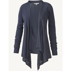 Fat Face Waterfall Pointelle Cardigan ($38) ❤ liked on Polyvore featuring tops, cardigans, sweaters, jackets, navy, waterfall cardigan, cotton cardigan, long sleeve cotton tops, pointelle cardigan and navy blue cardigan