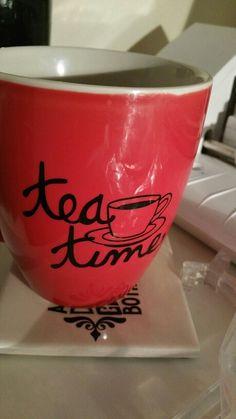Personalised Tea/Coffee cup Vinyl Designs, Coffee Cups, Wine Glass, Tea, Tableware, Prints, High Tea, Coffee Mugs, Dinnerware
