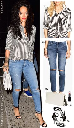 Dress by Number: Rihannas Striped Oxford and Ankle-Strap Heels - The Budget Babe
