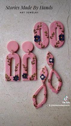 Earring Tutorial, Diy Tutorial, Jewelry Art, Flower Jewelry, Unique Jewelry, Hand Art, Clay Tutorials, Creative Kids, Polymer Clay Earrings
