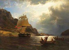 Hans Gude (1825-1903): Hjemvendende hvalfangerskip i en norsk havn, 1869.