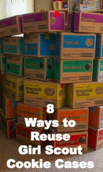 Ways to Reuse Girl Scout Cookie Cases - Crafting a Green World Scout Mom, Girl Scout Swap, Daisy Girl Scouts, Girl Scout Leader, Girl Scout Troop, Brownie Girl Scouts, Girl Scout Bridging, Girl Scout Cookie Sales, Girl Scout Cookies