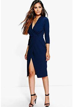 Bai Crepe 3/4 Sleeved Wrap Detail Midi Dress