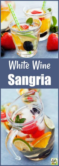 It's easy to make White Wine Sangria with fresh or frozen fruit. And learn why Pinot Grigio is the best white wine for sangria, too! You\'ll love serving up this white sangria recipe at your next party. #cocktails #drinks #drinking #wine #alcohol #recipes #easy #recipeoftheday #easyrecipe #fruit
