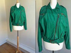1980s Green Leather Biker Jacket * Size Medium