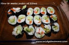 Making Sushi at home - these are great for school lunches!