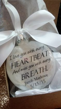 Loss of Spouse Memorial Ornament Feather Filled Sympathy Gift Personalized Keepsake In Memory of Loved One Death of Husband Bereavement Gift Christmas In Heaven, Christmas Balls, Christmas Diy, Christmas Decorations, Christmas Projects, Memorial Ornaments, Memorial Gifts, Xmas Ornaments, Memorial Ideas