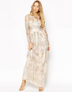 image 1 of club l sequin maxi dress with plunge back and long