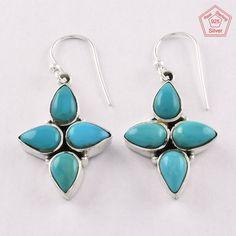 Christmas Bonanza 925 Sterling Silver Turquoise Stone Oriental Earrings E4083 #SilvexImagesIndiaPvtLtd #DropDangle