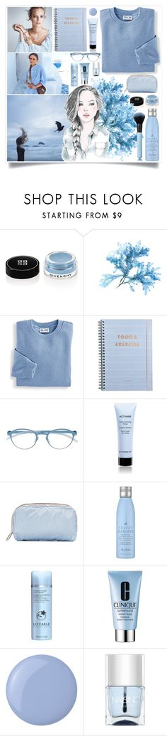 """""""Braids And Blue"""" by angelstylee ❤ liked on Polyvore featuring Givenchy, Mix & Match, Blair, Mykita, LeSportsac, Drybar, Liz Earle, Clinique, Essie and Nails Inc."""