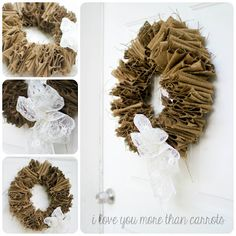 Burlap Coat Hanger Wreath