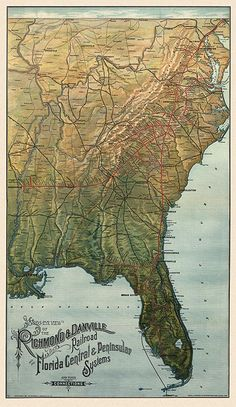 Antique railroad map of Florida and the Southeast US from 1893
