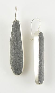 Beach stone and sterling silver earrings, by Jennifer Nielsen