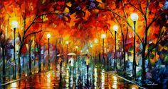 Stroll in the night park  PALETTE KNIFE Oil by AfremovArtGallery, $239.00