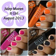 Julep Maven August 2013 It Girl - Marjorie, Fiore & Nellie nail polish swatches