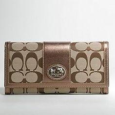 Coach Sutton Signature Slim Envelope Wallet 44001 Gold