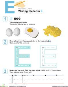 Preschool Letters Fine Motor Skills Worksheets: E is for Eggs! Practice Writing the Letter E