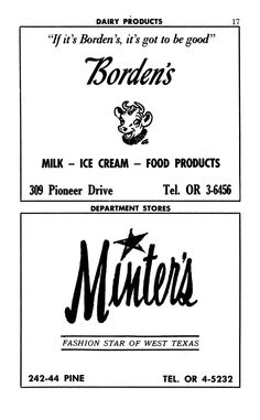ads from 1963 Abilene City Directory. Borden's and Minter's