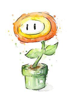 Fire Flower Watercolor Art Print, Mario Bros Painting Videogame Nintendo…                                                                                                                                                                                 Mais