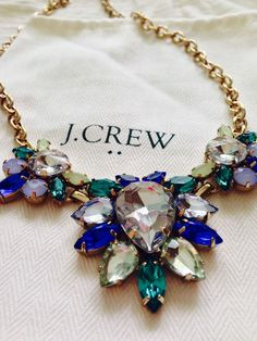 J. Crew blue and turquoise statement necklace. #JCrew