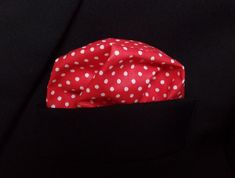 Red Pocket Square with White Dots Pocket Square, Dots, Elegant, Trending Outfits, Unique Jewelry, Handmade Gifts, Red, Vintage, Fashion