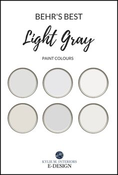 The best Behr paint colours, warm and cool grays including Dolphin Fin, Sterling, Silver Drop and more! Off White Paint Colors, Best Gray Paint Color, Greige Paint Colors, Best White Paint, Off White Paints, Popular Paint Colors, Paint Colours, Wall Colors, House Colors